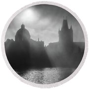 Charles Bridge Towers, Prague, Czech Republic Round Beach Towel