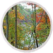 Charles River In Autumn Round Beach Towel