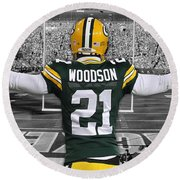 Charles Woodson Green Bay Packers Stadium Art 2 Round Beach Towel