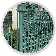 Round Beach Towel featuring the photograph Charleston Aqua Turquoise Rod Iron Gate John Rutledge House - Charleston Historical Architecture by Kathy Fornal
