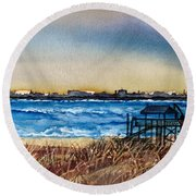 Charleston At Sunset Round Beach Towel by Lil Taylor