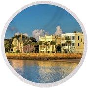 Charleston Battery Row Of Homes  Round Beach Towel