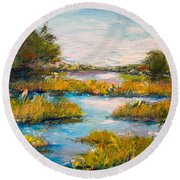 Round Beach Towel featuring the painting Charleston City Limits by Alan Lakin