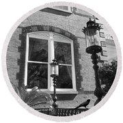 Round Beach Towel featuring the photograph Charleston French Quarter Architecture - Window Street Lanterns Gothic French Black White Art Deco  by Kathy Fornal