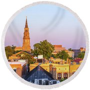 Charleston Glows Round Beach Towel