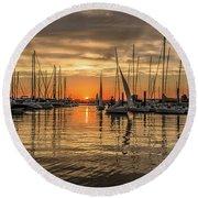 Charleston Harbor Marina Sunset Round Beach Towel