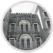 Round Beach Towel featuring the photograph Charleston Historical Haunted Old Jail House - Charleston Old Jail Civil War Architecture  by Kathy Fornal