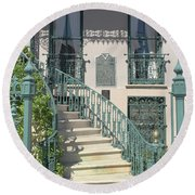 Round Beach Towel featuring the photograph Charleston Historical John Rutledge House - Aqua Teal Gate Staircase Architecture - Charleston Homes by Kathy Fornal