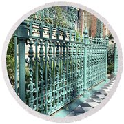 Round Beach Towel featuring the photograph Charleston Historical John Rutledge House Fleur Des Lis Aqua Teal Gate Fence Architecture  by Kathy Fornal
