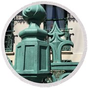 Round Beach Towel featuring the photograph Charleston John Rutledge House Fleur De Lis Symbols - French Quarter Architecture Gate Posts by Kathy Fornal