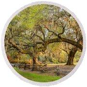 Charleston South Carolina Live Oaks Alongsplit Rail Fence Magnolia Plantation Round Beach Towel