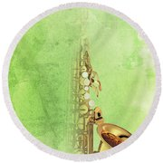 Charlie Parker Saxophone Green Vintage Poster And Quote, Gift For Musicians Round Beach Towel by Pablo Franchi