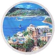Charlotte Amalie Marriott Frenchmans Beach Resort St. Thomas Us Virgin Island Aerial Round Beach Towel by Bernadette Krupa