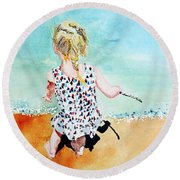 Round Beach Towel featuring the painting Charlotte By The Lake by Tom Riggs