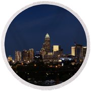 Charlotte Skyline During Blue Hour Round Beach Towel by Serge Skiba