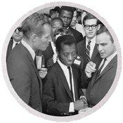 Charlton Heston James Baldwin Marlon Brando Washington D.c. 1963 Round Beach Towel