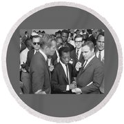Charlton Heston James Baldwin Marlon Brando Washington D.c. 1963 Round Beach Towel