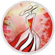 Charming Lady In Red Round Beach Towel by Irina Sztukowski