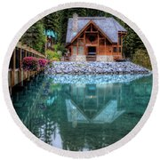 Charming Lodge Emerald Lake Yoho National Park British Columbia Canada Round Beach Towel