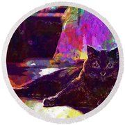 Round Beach Towel featuring the digital art Chartreux Cat Animals Pet Mieze  by PixBreak Art