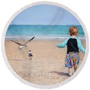 Chasing Birds On The Beach Round Beach Towel