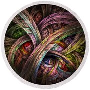 Round Beach Towel featuring the digital art Chasing Colors - Fractal Art by NirvanaBlues