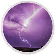 Chasing Nebraska Lightning 018 Round Beach Towel