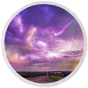 Chasing Nebraska Lightning 056 Round Beach Towel