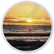 Chasing The Waves Round Beach Towel