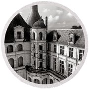 Chateau De Chambord Courtyard And Staircase  Round Beach Towel