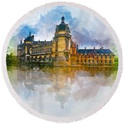 Chateau De Chantilly Round Beach Towel
