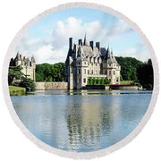 Round Beach Towel featuring the photograph Chateau De La Bretesche - Missillac, France by Joseph Hendrix