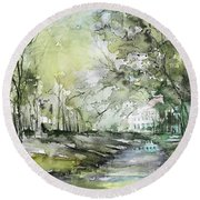 Chateau In Provence  Round Beach Towel by Robin Miller-Bookhout