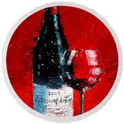 Still Life With Wine Bottle And Glass I Round Beach Towel