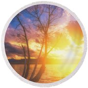 Round Beach Towel featuring the photograph Chatfield Lake Sunset by Darren White