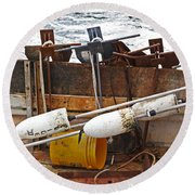 Round Beach Towel featuring the photograph Chatham Fishing by Charles Harden