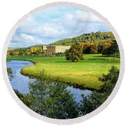 Chatsworth House View Round Beach Towel