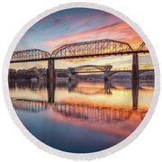Chattanooga Sunset 5 Round Beach Towel by Steven Llorca