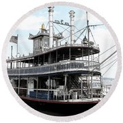 Chautauqua Belle Steamboat With Ink Sketch Effect Round Beach Towel