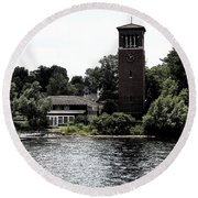 Chautauqua Institute Miller Bell Tower 2 With Ink Sketch Effect Round Beach Towel