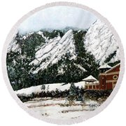 Round Beach Towel featuring the painting Chautauqua - Winter, Late Afternoon by Tom Roderick