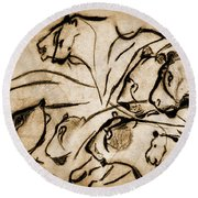 Chauvet Cave Lions Burned Leather Round Beach Towel