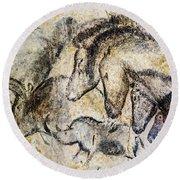Chauvet Horses Aurochs And Rhinoceros Round Beach Towel