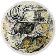 Chauvet Three Rhinoceros Round Beach Towel