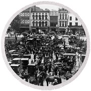 Cheapside Public Square In Lexington - Kentucky - April 7  1920 Round Beach Towel by International  Images