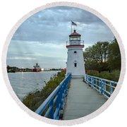 Cheboygan Crib Lighthouse Lake Huron, Lower Peninsula Mi Round Beach Towel