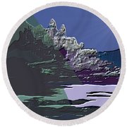 Round Beach Towel featuring the digital art 1978 - Nowhere  by Irmgard Schoendorf Welch