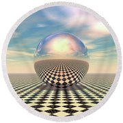 Round Beach Towel featuring the digital art Checker Ball by Phil Perkins