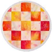 Checkerboard Watercolor Round Beach Towel
