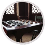 Checkers Table At The Lincoln Cottage In Washington Dc Round Beach Towel